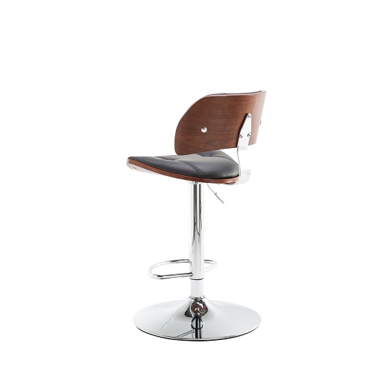 Aylesbury Bar Stool In Black PU And Walnut With Chrome Base_2