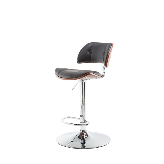 Aylesbury Bar Stool In Black PU And Walnut With Chrome Base_3