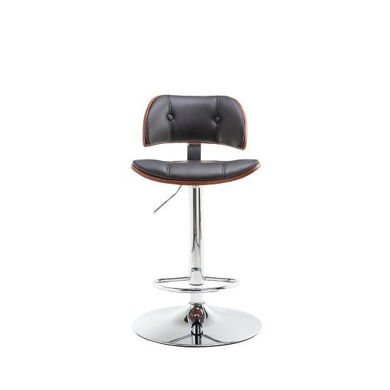 Aylesbury Bar Stool In Black PU And Walnut With Chrome Base_4