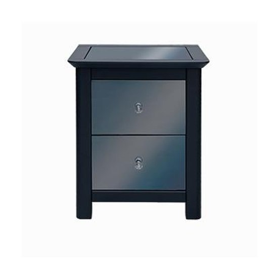 Ayr Mirrored Glass Bedside Cabinet In Carbon With 2 Drawers