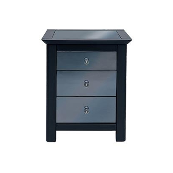 Ayr Mirrored Glass Bedside Cabinet In Carbon With 3 Drawers