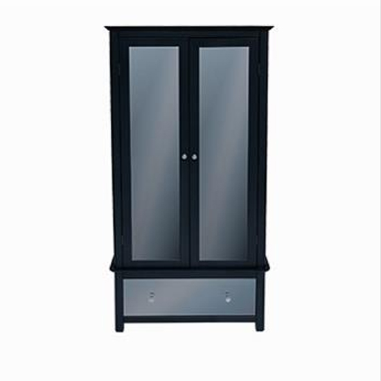Ayr Mirrored Glass Wardrobe In Carbon With 2 Doors And 1 Drawer_1