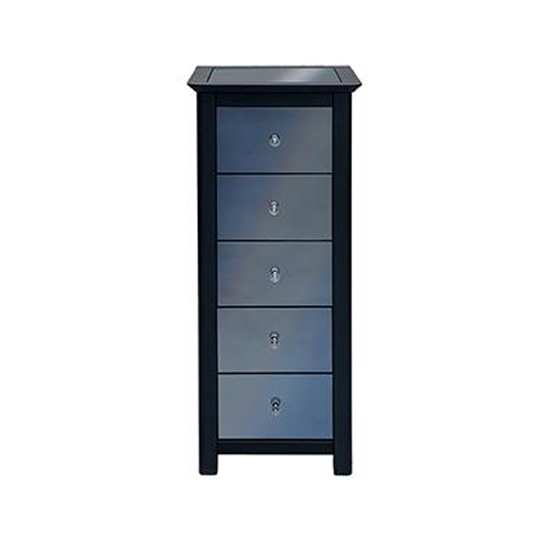 Ayr Mirrored Narrow Chest Of Drawers In Carbon With 5 Drawers