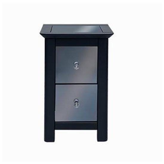 Ayr Petite Mirrored Glass Bedside Cabinet In Carbon