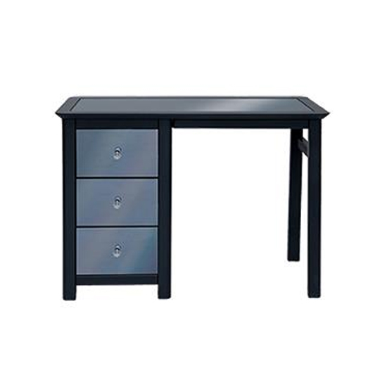 Ayr Single Pedestal Dressing Table In Carbon With 3 Drawers