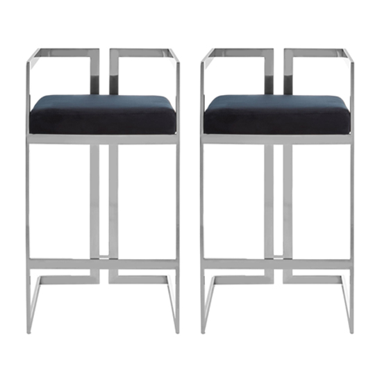Azaltro Black Velvet Bar Stools With Silver Metalframe In Pair