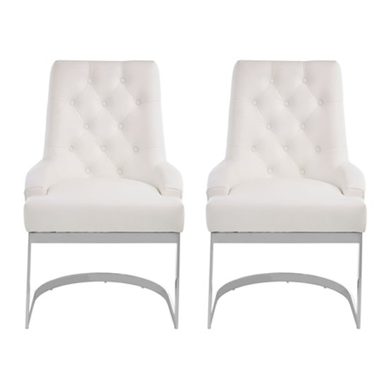 Azaltro Ivory Linen Fabric Dining Chairs In Pair