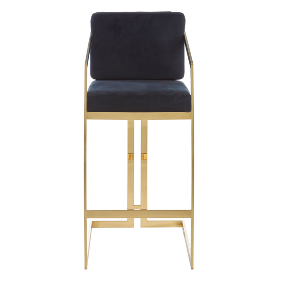 Azalea Velvet Bar Stool In Black With Gold Metalframe