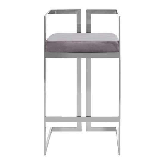 Azalea Velvet Bar Stool In Grey With Silver Metalframe