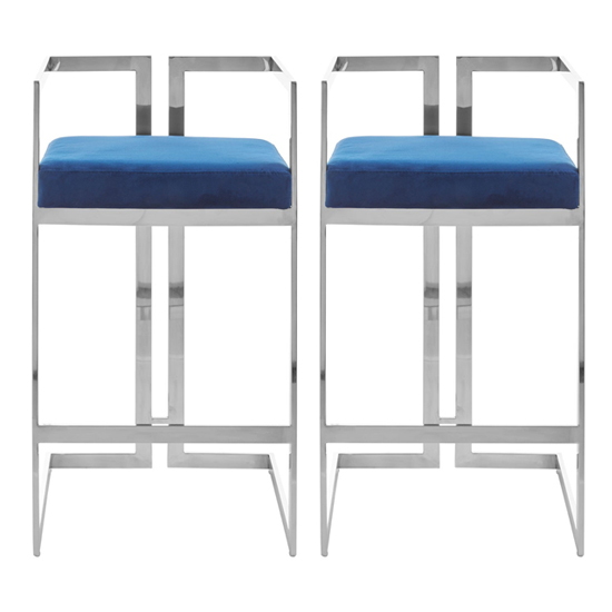 Azaltro Blue Velvet Bar Stools With Silver Metalframe In Pair