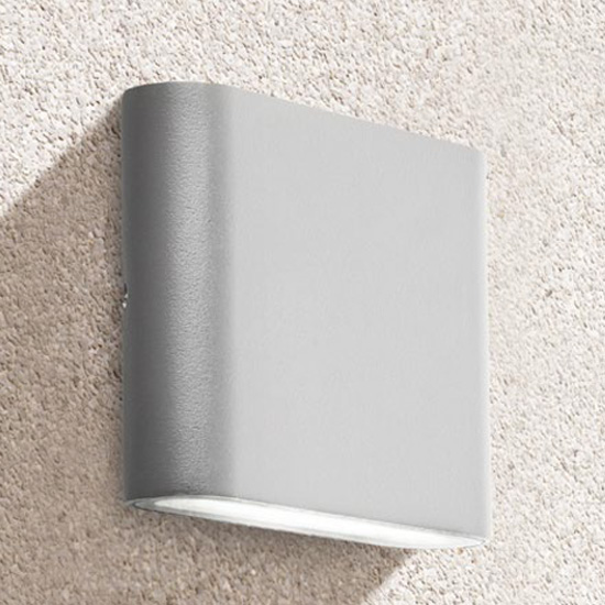 Azha Outdoor LED Up Down Wall Light In Grey With Clear Diffuser
