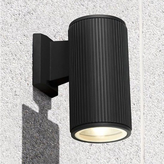 Azha Round Outdoor Wall Light In Black With Clear Glass