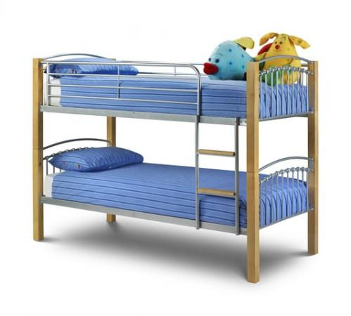 Twins Bunk Bed in Bright Aluminium and Oak Finish