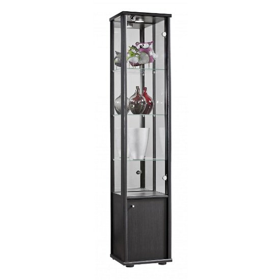 Aztec Contemporary Display Cabinet In Black With 1 Door