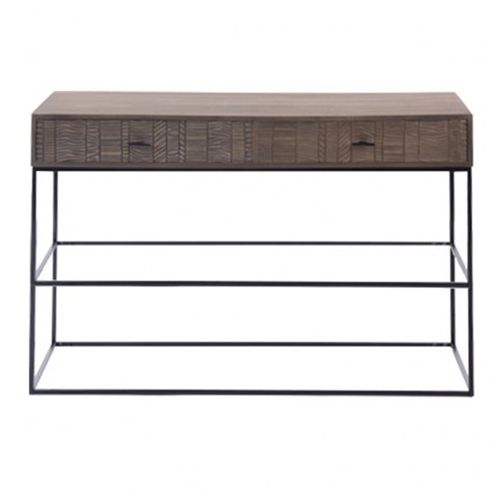 Aztek Wooden Console Table In Acacia With 2 Drawers