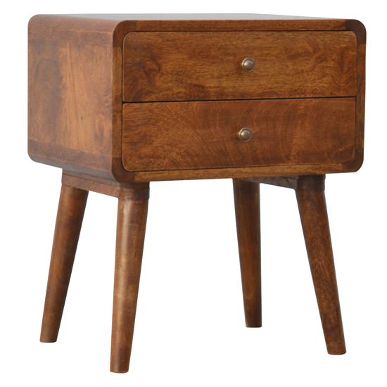 View Bacon wooden curved bedside cabinet in chestnut with 2 drawers