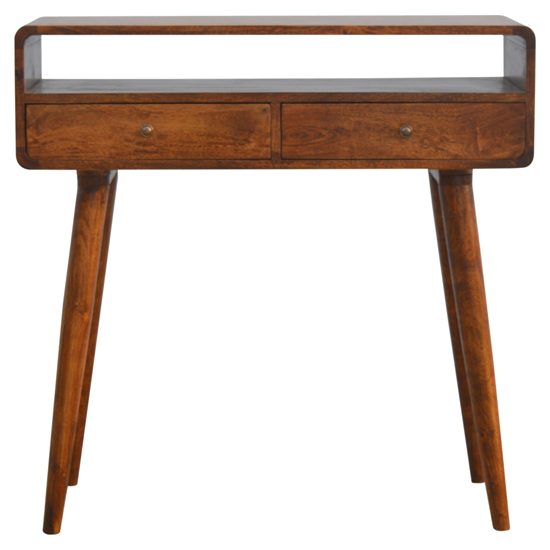 Bacon Wooden Curved Console Table In Chestnut With 2 Drawers_2