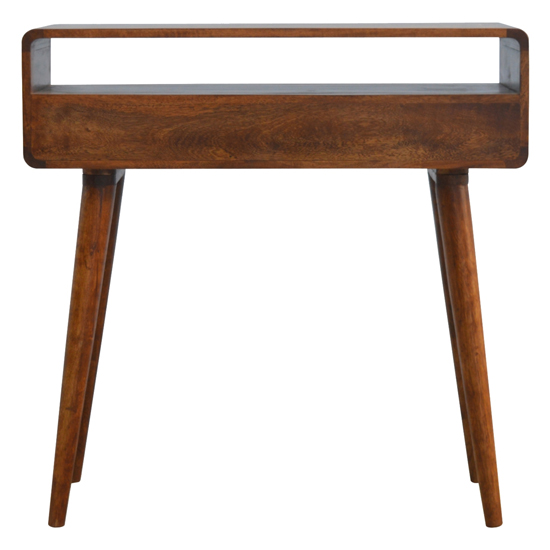 Bacon Wooden Curved Console Table In Chestnut With 2 Drawers_4