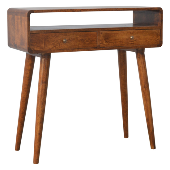 Bacon Wooden Curved Console Table In Chestnut With 2 Drawers_1