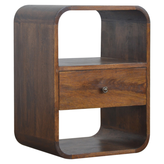 Bacon Wooden Curved Edge Bedside Cabinet In Chestnut 1 Drawer