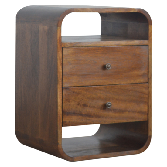 View Bacon wooden curved edge bedside cabinet in chestnut 2 drawers