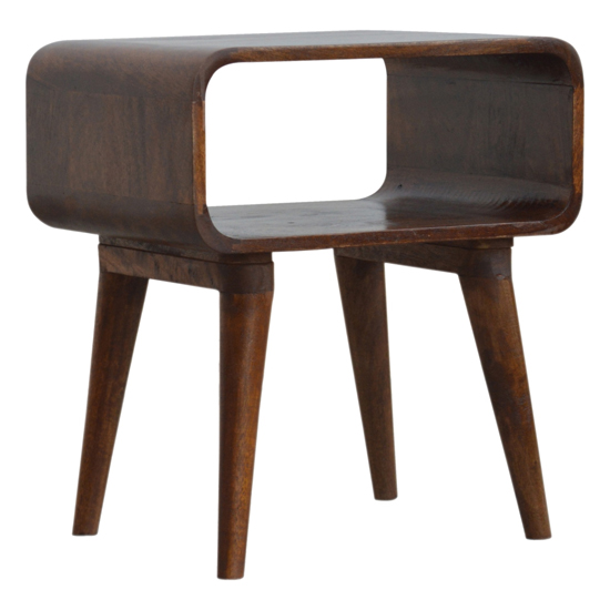 View Bacon wooden curved open bedside cabinet in chestnut