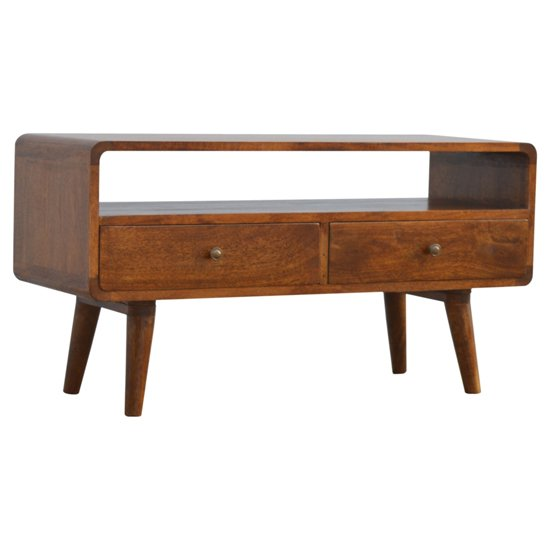 Bacon Wooden Curved TV Stand In Chestnut With 2 Drawers