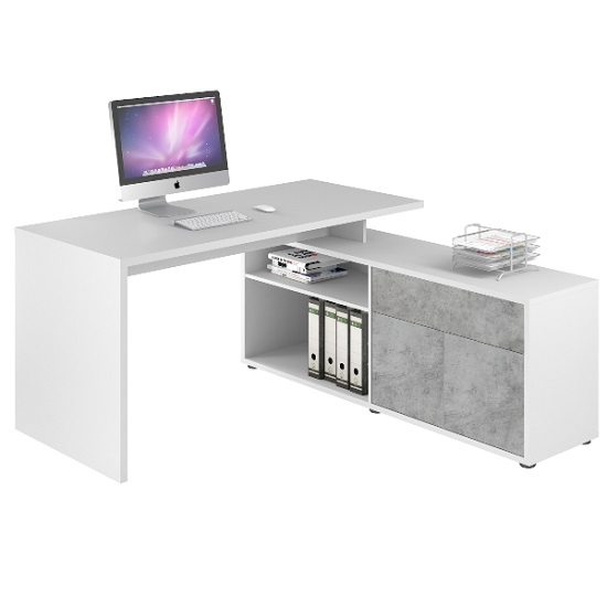 Bacup Wooden Computer Desk In Stone Grey And White Gloss