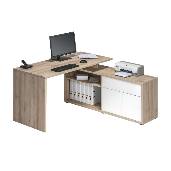 Bacup Wooden Computer Desk In Beech And White Gloss