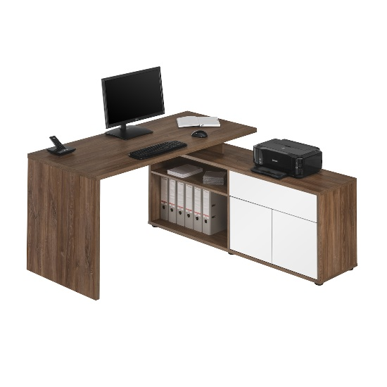 Bacup Wooden Computer Desk In Dark Oak And White Gloss