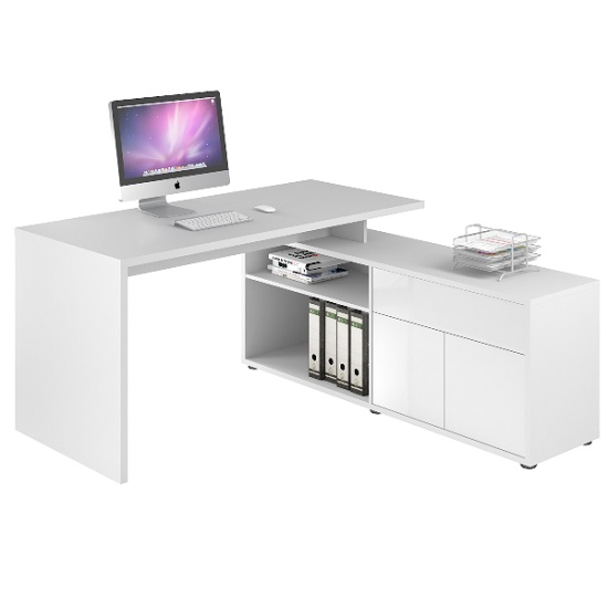 Bacup Wooden Computer Desk In Icy White High Gloss