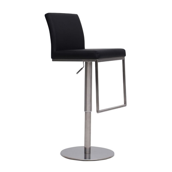 Bahama Bar Stool In Black PU With Brushed Stainless Steel Base