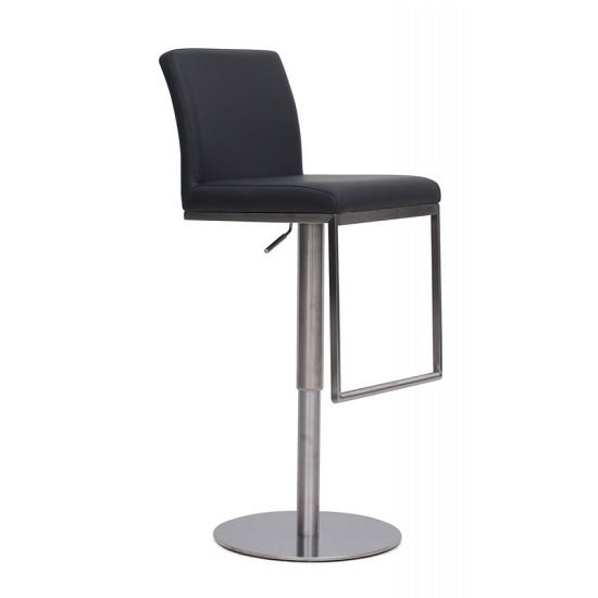 Product photograph showing Bahama Bar Stool In Grey Pu With Brushed Stainless Steel Base