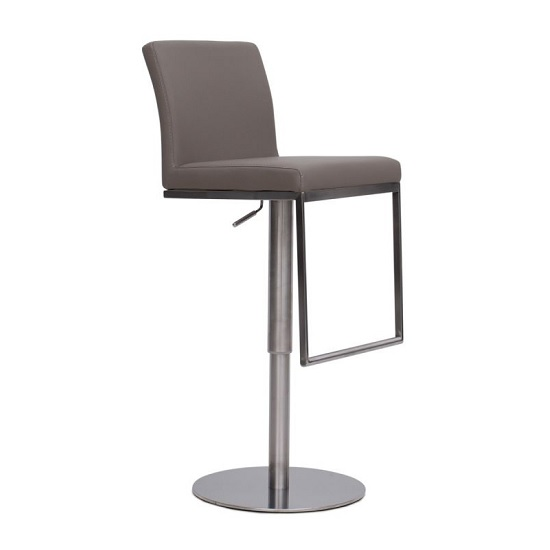 Bahama Bar Stool In Taupe PU With Brushed Stainless Steel Base