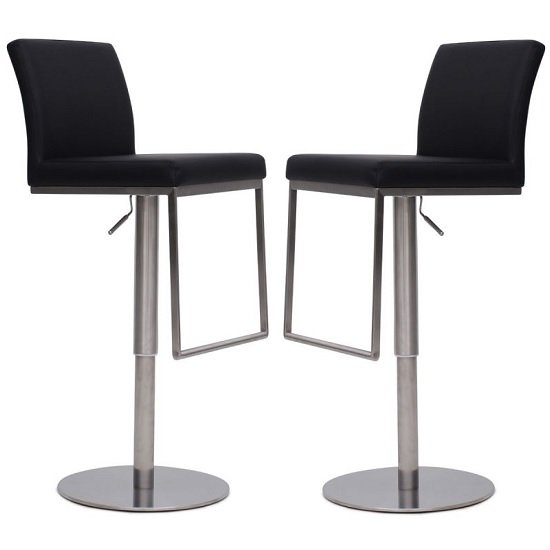 Bahama Bar Stools In Black Faux Leather In A Pair