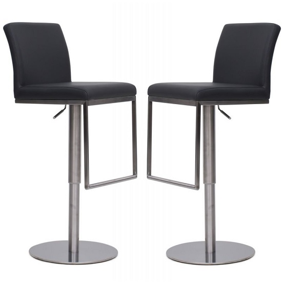 Bahama Bar Stools In Grey Faux Leather In A Pair