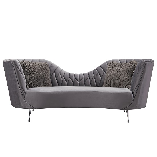 Bailey Fabric 3 Seater Sofa In Grey With Polished Metal Legs