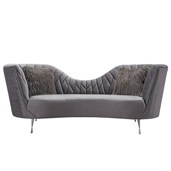 Image of Bailey Fabric 3 Seater Sofa In Grey With Polished Metal Legs