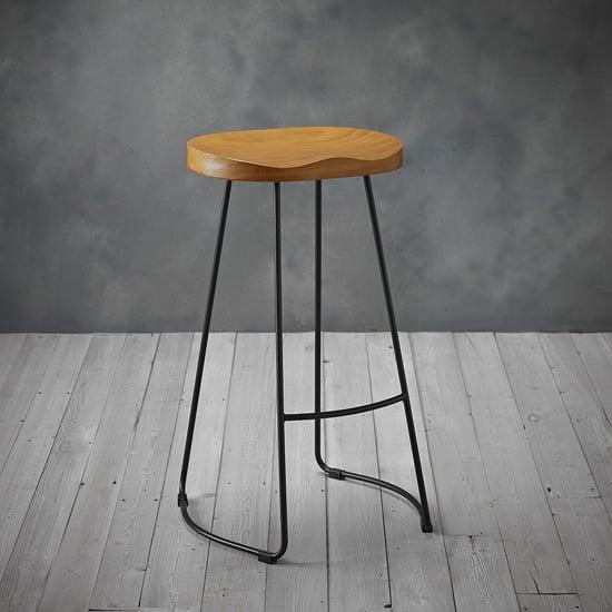 View Bailey black metal leg bar stool with pine wood seat