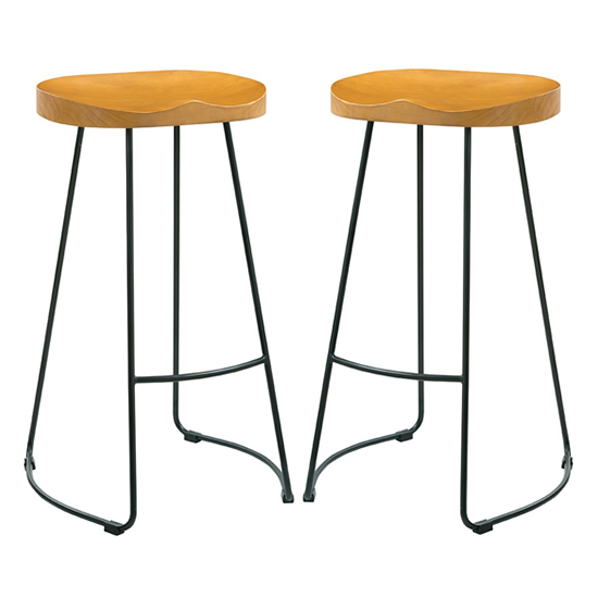 Bailey Black Metal Leg Bar Stool In Pair With Pine Wood Seat