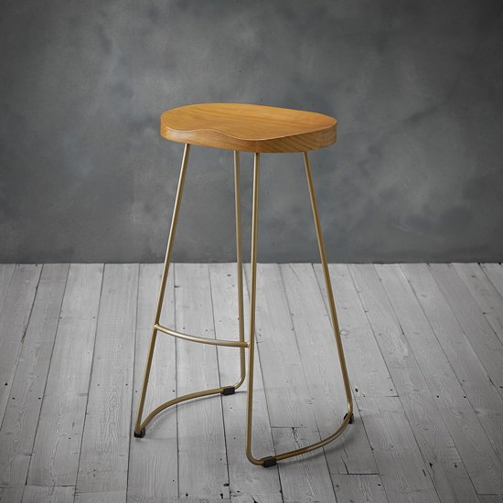 Bailey Gold Effect Leg Bar Stool With Pine Wood Seat