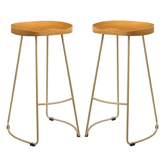 Bailey Gold Effect Leg Bar Stool With Pine Wood Seat In Pair