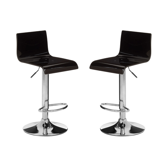 Baina Black Acrylic Bar Stool In Pair With Chrome Base