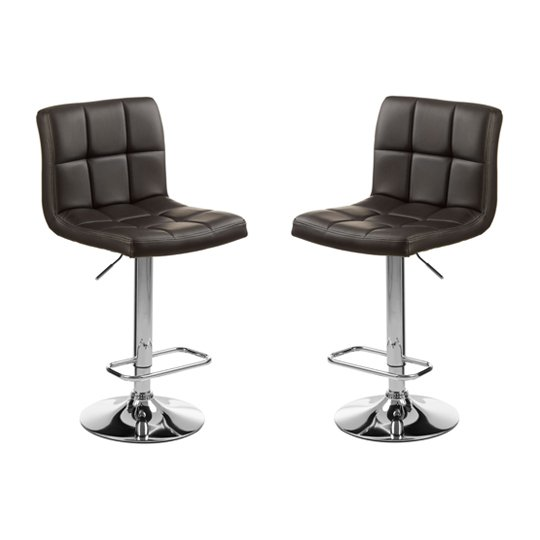 Baina Black Quilted Bar Stool With Chrome Base In Pair