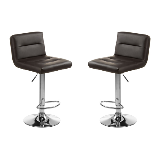 Baino Black Seat Bar Stool With Chrome Base In Pair