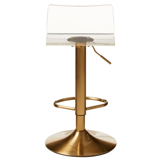 Baino Clear Acrylic Seat Bar Stool With Golden Base In Pair_3
