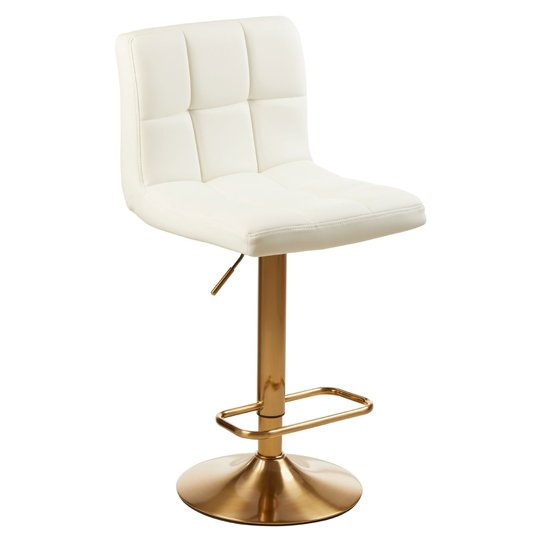 Baino White Leather Bar Stool In Pair With Gold Base_2