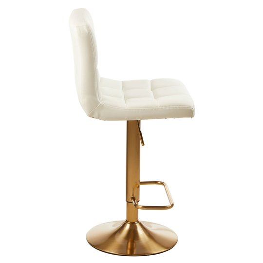 Baino White Leather Bar Stool In Pair With Gold Base_3