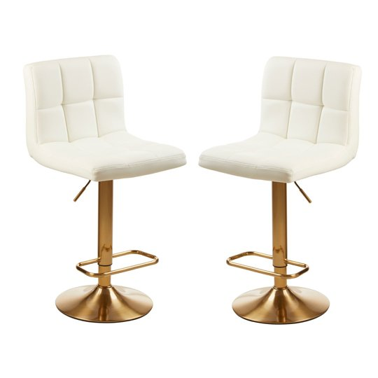 Baina Quilted White Leather Bar Stool In Pair With Gold Base