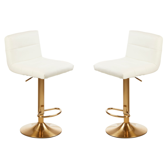 Baina White Seat Bar Stool With Gold Base In Pair